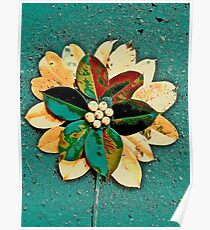 Flower and Green and Yellow Poster