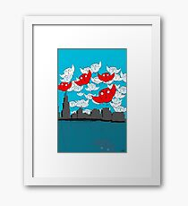 Owl Storm Over Chicago, red white and blue Framed Print