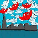 Owl Storm Over Chicago, red white and blue by Deana Greenfield