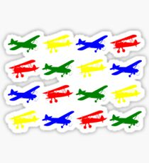 Airplane Silhouette Pattern in Blue, Red, Green and Yellow Sticker