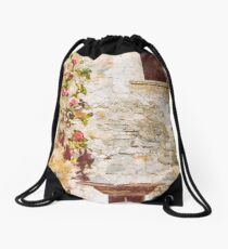 Camelia flowers and decayed house Drawstring Bag