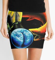 Trippy Psychedelic Visionary Surreal Psy Art - The Relentless Predator by Vincent Monaco Mini Skirt