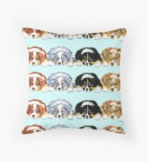 Australian Shepherd Puppies all 4 colors Throw Pillow