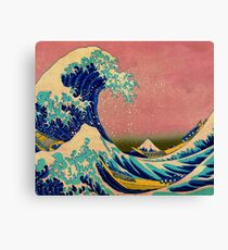 The Great Wave in Pink Japanese Art Canvas Print