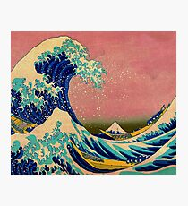The Great Wave in Pink Japanese Art Photographic Print
