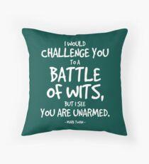 Battle of Wits Quote - Mark Twain Floor Pillow