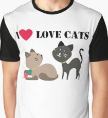 I love cats t-shirt, cat lovers gift, animal lovers gift, cat, funny. Graphic T-Shirt