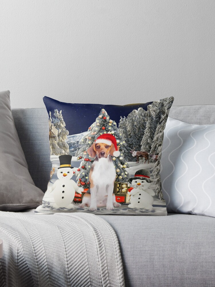 Enjoyable Beagle Dog Sitting In Snow With Snowman Christmas Gifts Throw Pillow By Aashiarsh Cjindustries Chair Design For Home Cjindustriesco
