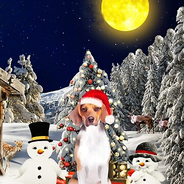 Beagle Dog Sitting in Snow with Snowman Christmas Gifts  by aashiarsh
