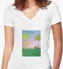 Burrowing Owls Greeting Card Women's Fitted V-Neck T-Shirt