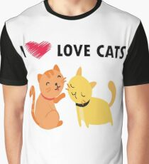 I love cats t-shirt, cat lovers gift, animal lovers gift, cat, funny Graphic T-Shirt