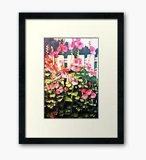 Pink Hollyhocks on The Fence Framed Print