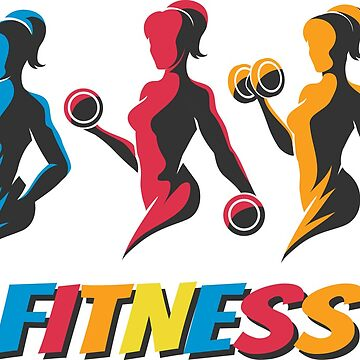 Training Woman Colorful Fitness  Emblem by devaleta