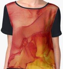 Red Sunset Red and Yellow Abstract Ink Painting Chiffon Top
