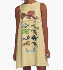 A Variety of Draconic Creatures A-Line Dress