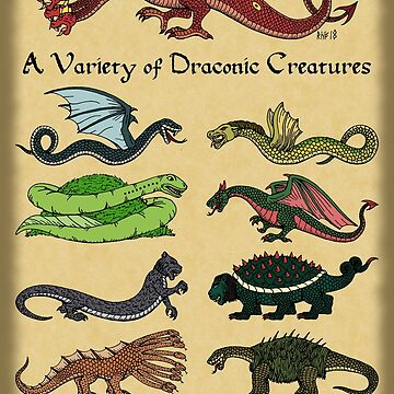 A Variety of Draconic Creatures by RHFay