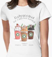 Catpuccino! For a purrfect morning! Women's Fitted T-Shirt