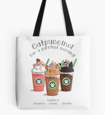 Catpuccino! For a purrfect morning! Tote Bag