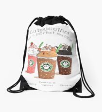 Catpuccino! For a purrfect morning! Drawstring Bag