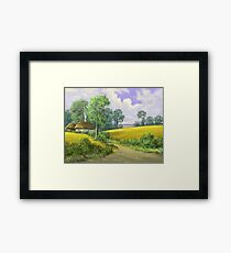 Digital paintings rural landscape. Fine art. Framed Print