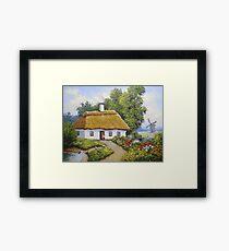Oil paintings rural landscape. Fine art. Framed Print