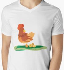 moma hen and chickens Men's V-Neck T-Shirt