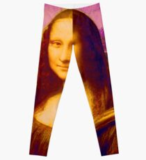 Mona Lisa in Pink da Vinci Renaissance Art Leggings