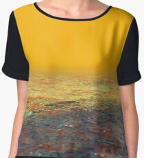 Desert landscape sunset colorful textured illustration Chiffon Top