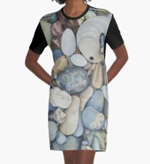 Pescadero Beach Pebbles Watercolor Graphic T-Shirt Dress