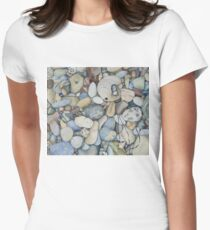 Pescadero Beach Pebbles Watercolor Women's Fitted T-Shirt
