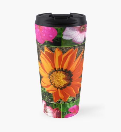Sunlit Sommer Blumen Collage Thermosbecher