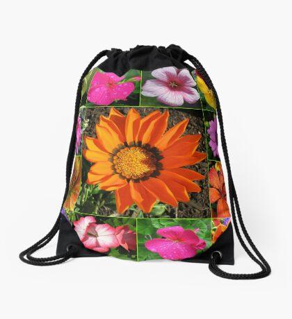 Sunlit Sommer Blumen Collage Turnbeutel