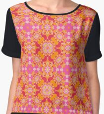 abstract colorful art flowers seamless repeat pattern Chiffon Top