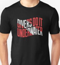 Divers Do It Underwater, Diver Down Nautical Flag Funny Scuba T-Shirt Unisex T-Shirt