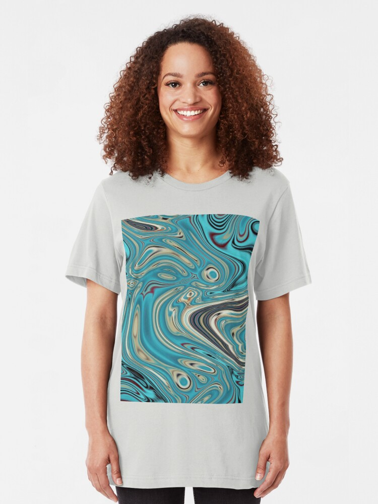 Alternative Ansicht von abstrakter Strandmarmormuster aquamariner Türkis wirbelt Slim Fit T-Shirt