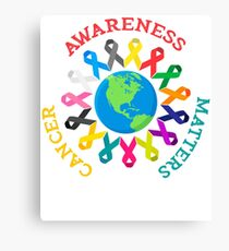 All Cancer Ribbons for All Cancer Awareness T-Shirt Canvas Print
