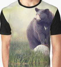 Black Bear on a rock near water Graphic T-Shirt