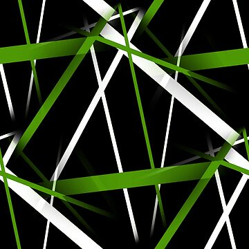Seamless Grass Green and White Stripes on A Black Background by taiche