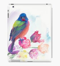 Male Painted Bunting with tulips, watercolor painting iPad Case/Skin