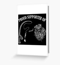 Proud supporter fishing rod and messy hair. Greeting Card
