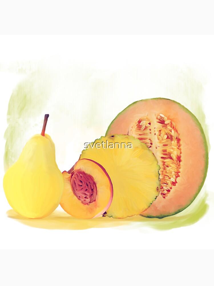 Fresh yellow fruits watercolor by svetlanna