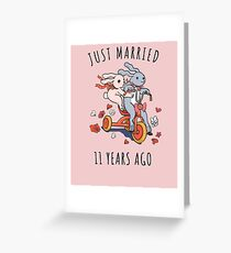 Just Married 11 Year Ago - 11th  Anniversary Couple Bunnies Tee, Phone Cases And Other Gifts Greeting Card