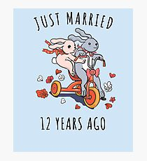 Just Married 12 Years Ago - 2nd Anniversary Couple Bunnies Tee, Phone Cases And Other Gifts Photographic Print