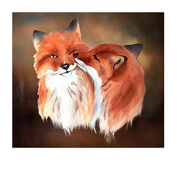 Two Wolves in Love, Wolf Couple by Aerrie