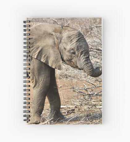 Hungry Baby Elephant -  THE AFRICAN ELEPHANT – Loxodonta africana Spiral Notebook