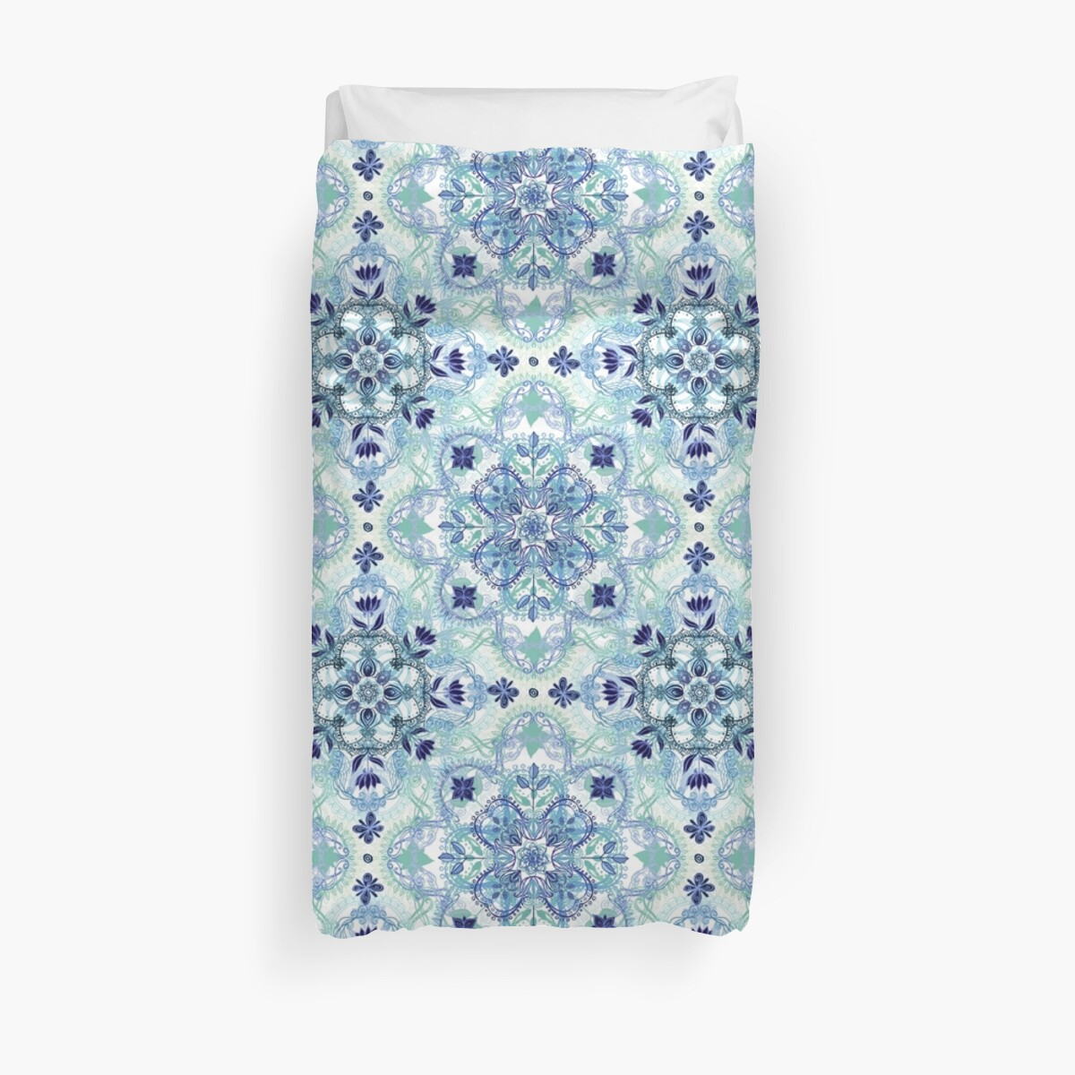 Quot Navy Blue Green Amp Cream Detailed Lace Doodle Pattern