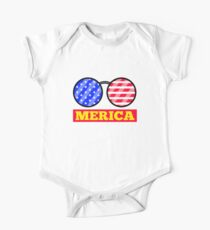 Merica Sunglasses USA Flag Independence Day One Piece - Short Sleeve