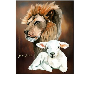 A Lion and a Lamb lying together in peace, Christian Scripture Isaiah 11:6 by Aerrie
