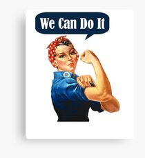 Womens Rosie The Riveter - We Can Do It! - Women's Feminist T-Shirt Canvas Print