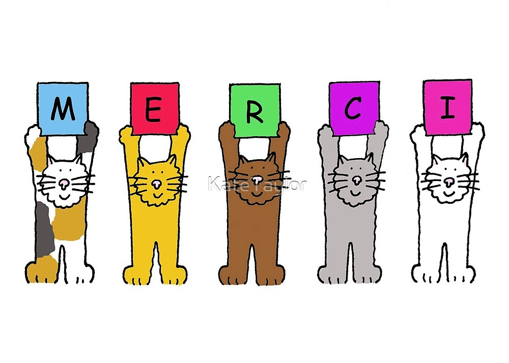 Merci, Cartoon Cats ,Thank you in French